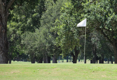 A flag is pictured on the Riverside Golf Course in Victoria, Texas