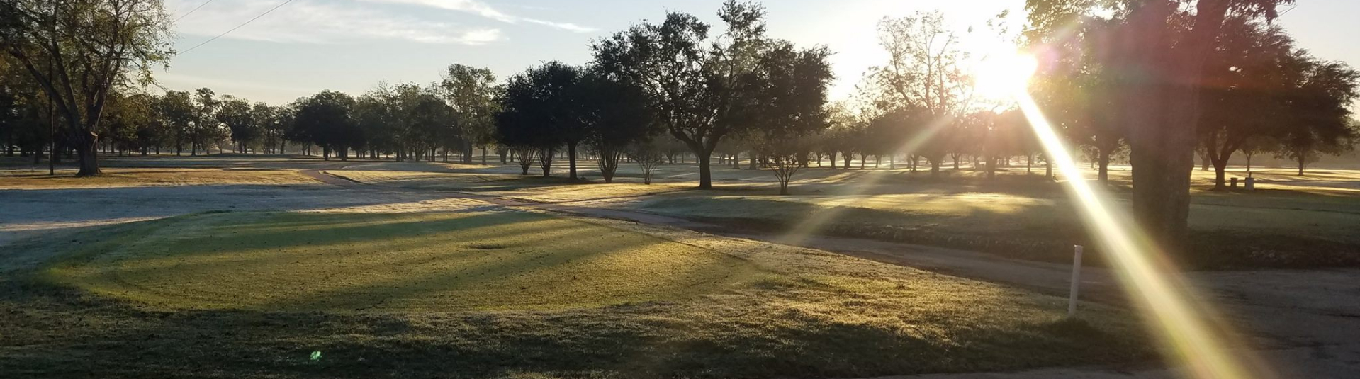 The sun sets at Riverside Golf Course in Victoria, Texas